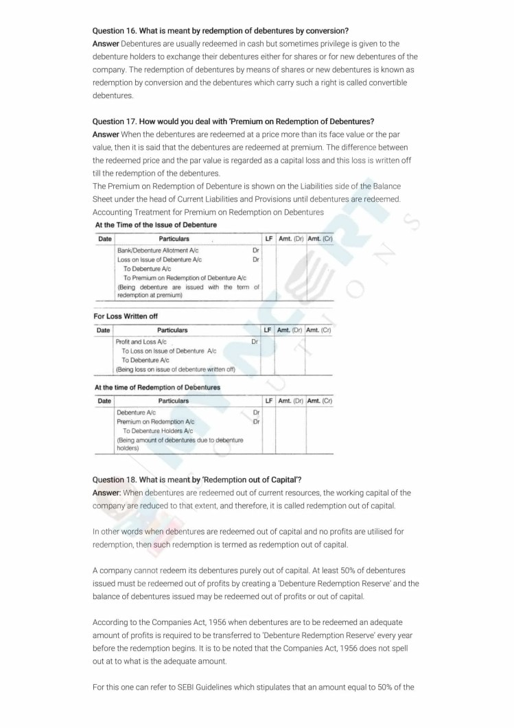 ncert solutions class 12 accountancy part 2 chapter 2 issue and redemption of debentures 20