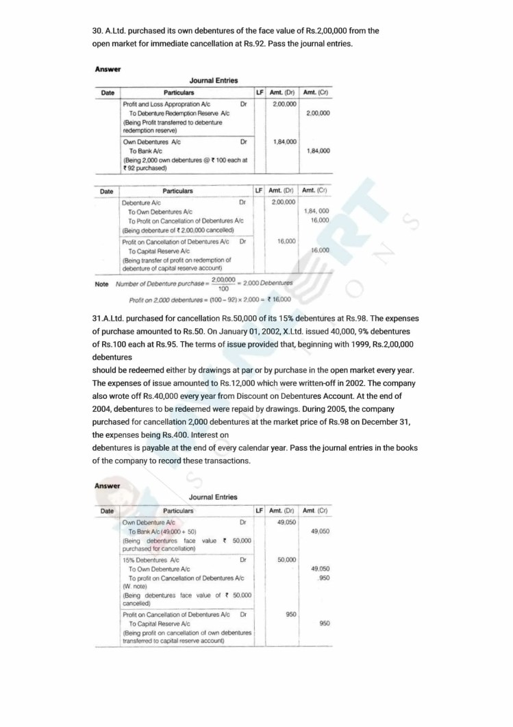 ncert solutions class 12 accountancy part 2 chapter 2 issue and redemption of debentures 55