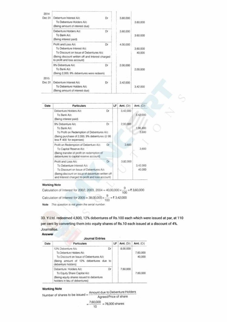 ncert solutions class 12 accountancy part 2 chapter 2 issue and redemption of debentures 57