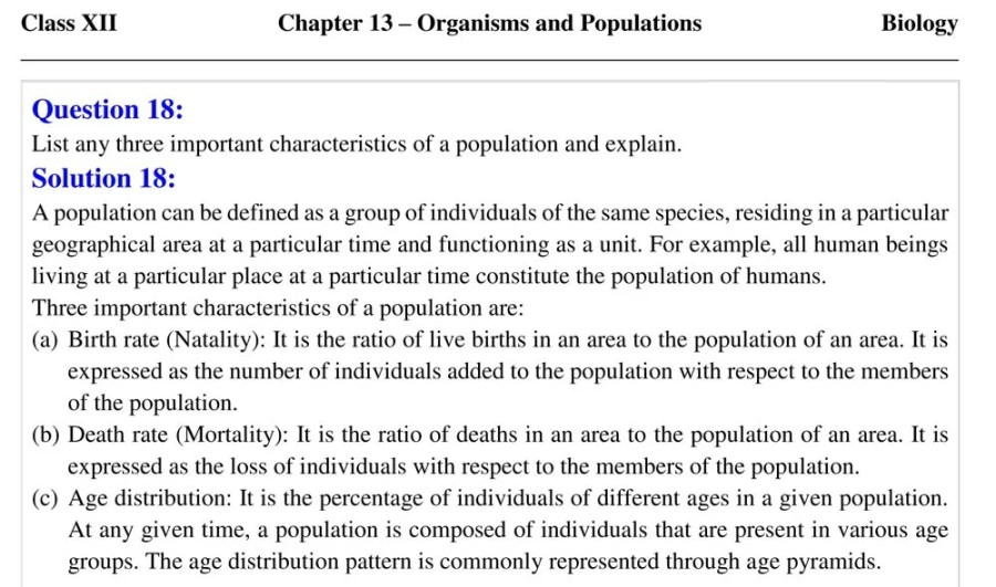 Class 12 Organisms Populations