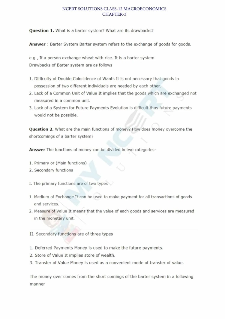 ncert solutions class 12 macro economics chapter 3 money and banking 1