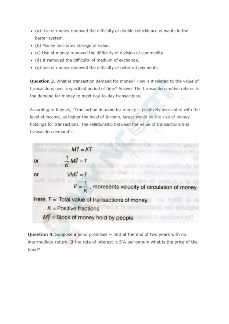 ncert solutions class 12 macro economics chapter 3 money and banking 2