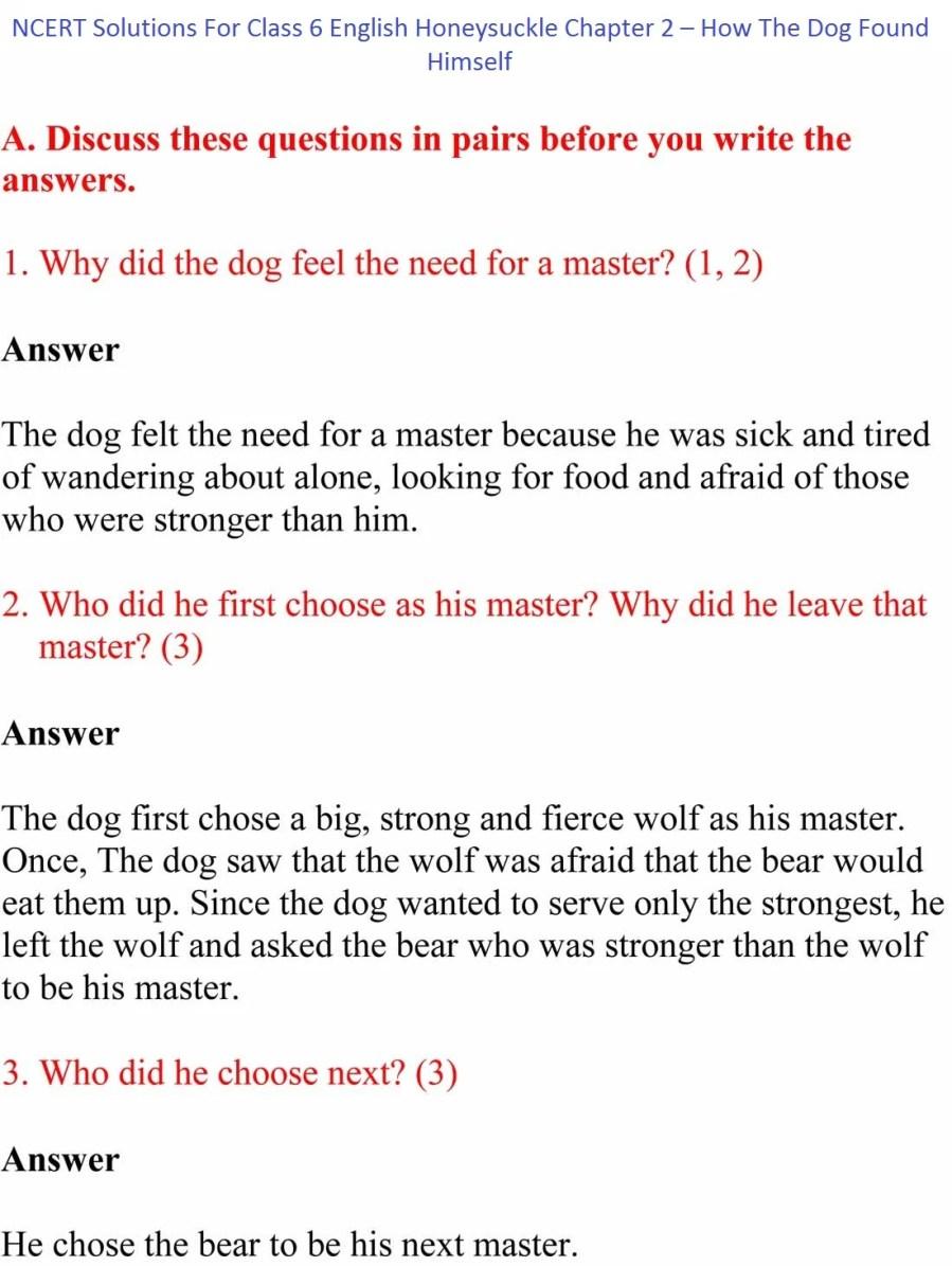 ncert solutions class 6 english honeysuckle chapter 2 1