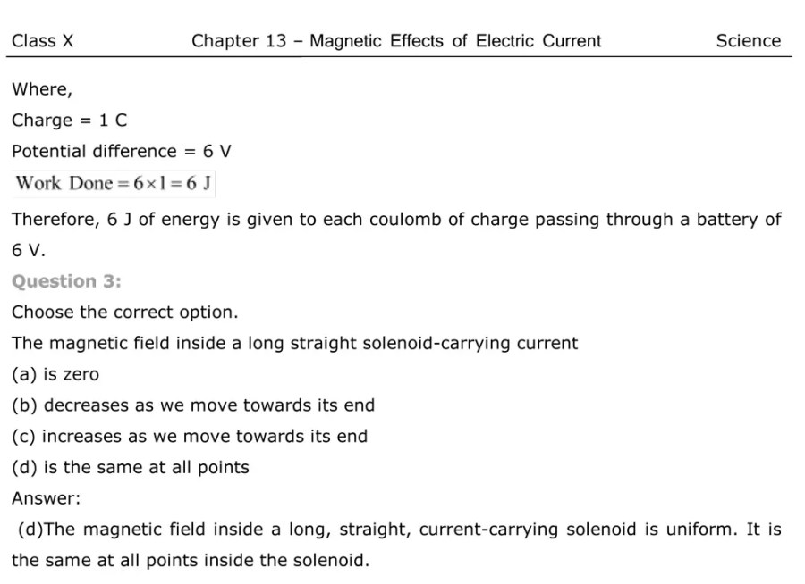 NCERT Solutions For Class 10 Science Magnetic Effects Electric Current