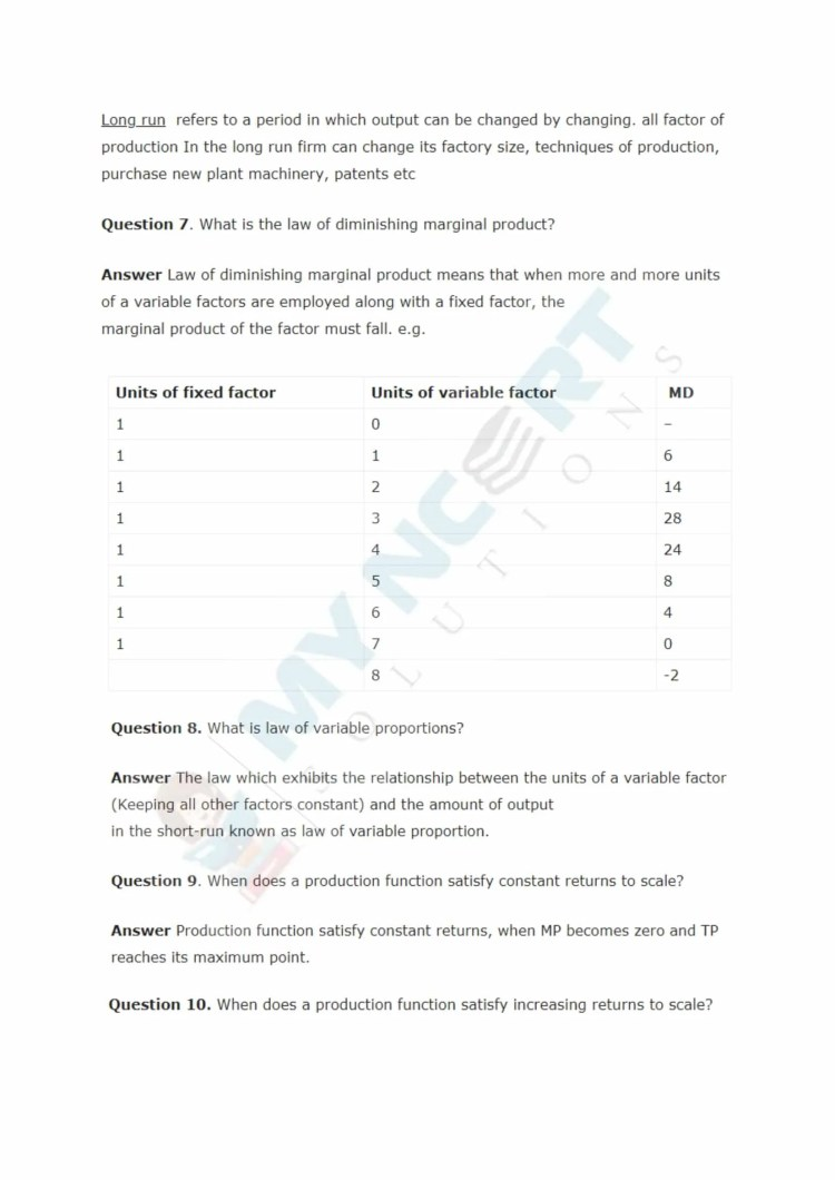 ncert solutions class 12 micro economics chapter 3 production and costs 3