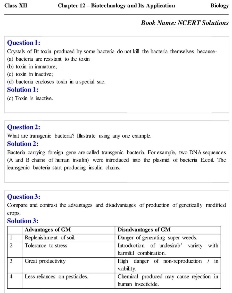 Class 12 Biotechnology And Its Application