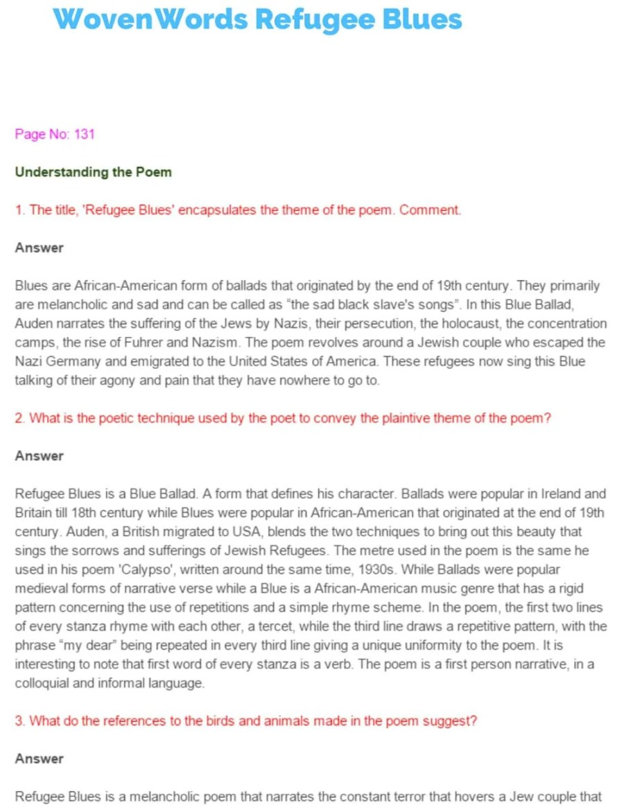 ncert solutions for class 11 english chapter 17 woven words refugee blues 1