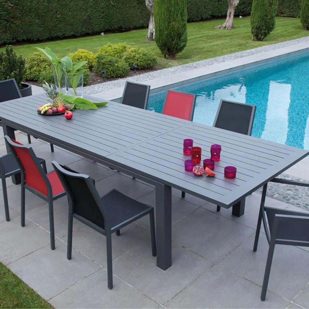table elisa 220 320 cm grise 3 chaises pliantes ida rouges 3 chaises pliantes ida grises