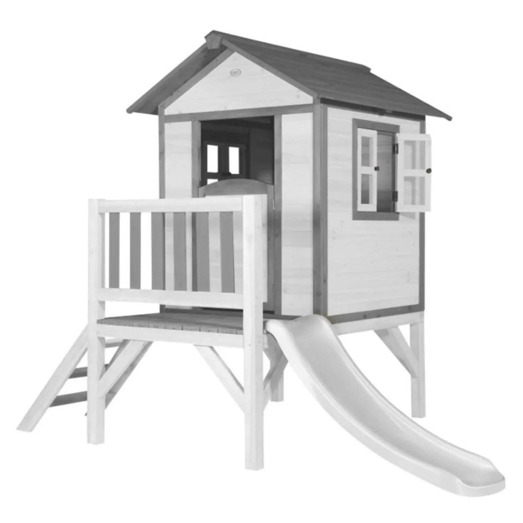 cabane en bois pour enfant avec toboggan blanc lodge xl
