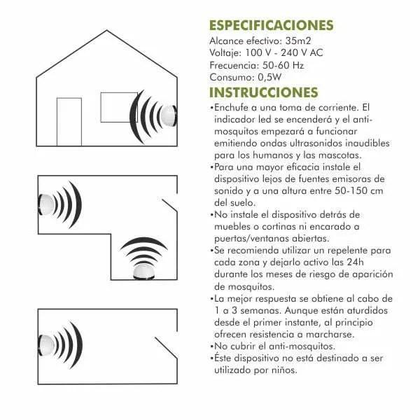 9312 repelente mosquitos ultrasonidos instrucciones