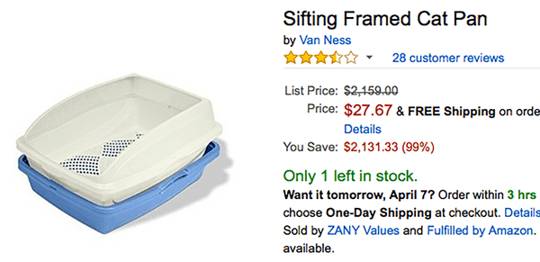 Amazon listing for a cat litter box