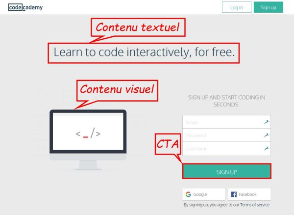 landing page - code academy