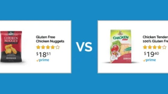 An image of an amazon A/B test between two amazon products with different descriptions and content plus different color variations.
