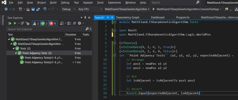 F# Unit Testing in Visual Studio 2019