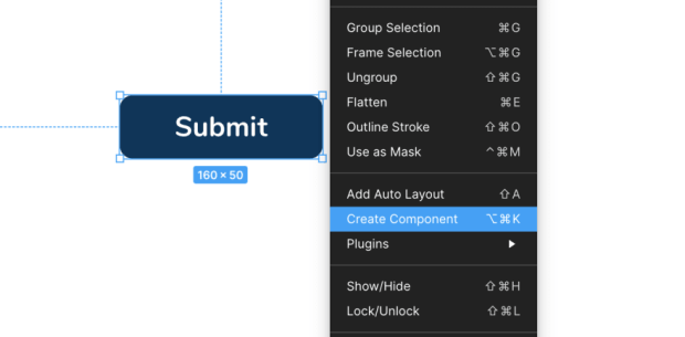Creating component in figma