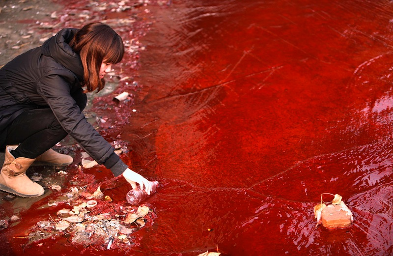 Polluted Jianhe River in Luoyang, China.