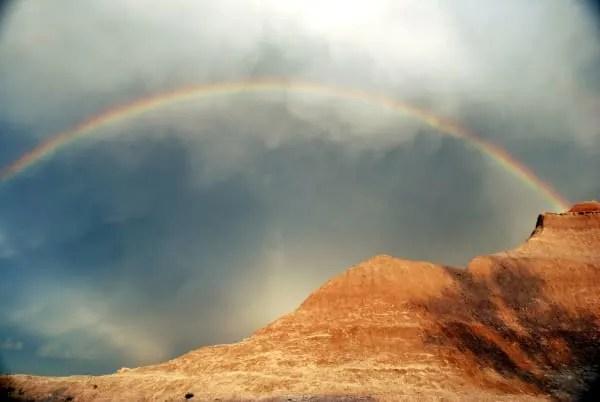 Rainbow over Badlands National Park