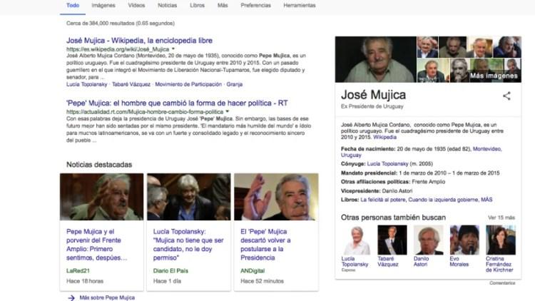 Al googlear Pepe Mujica, las noticias aparecen entre los primeros resultados.