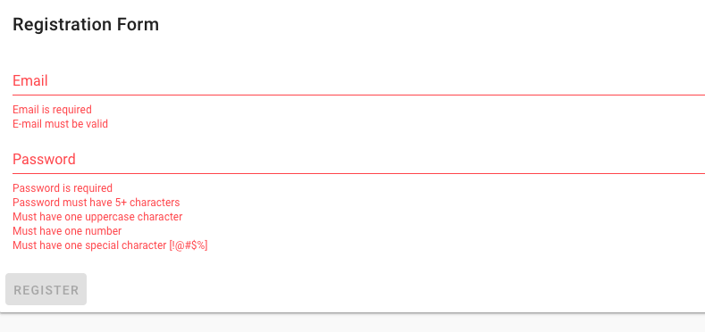 Registration form error messages