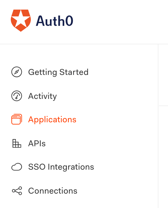 auth0 nav for applications
