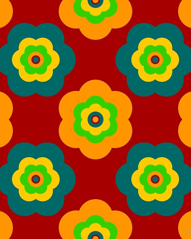 Geometric Pattern: Six Petal Flower / Red Wolf
