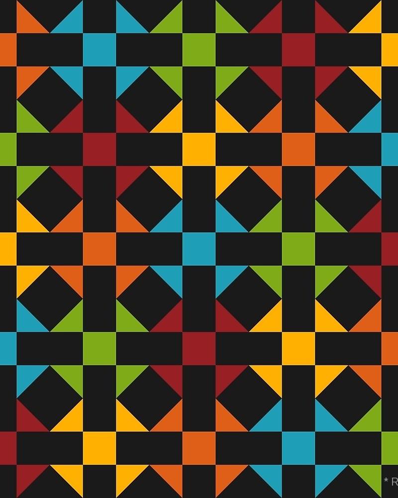 Geometric Pattern: Quilt: Seasons / Red Wolf