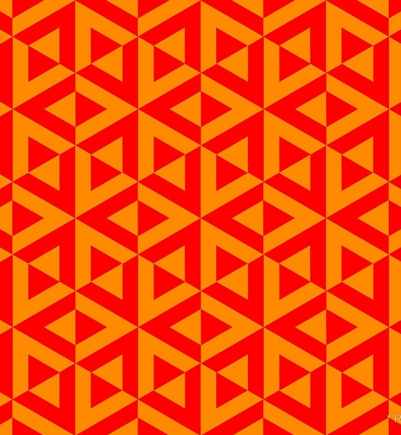 Geometric Pattern: Cube Split / Red Wolf