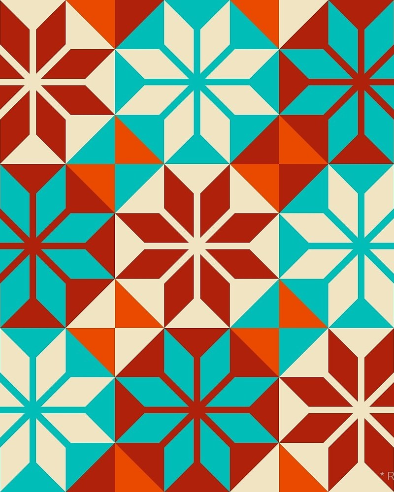 Geometric Pattern: Eight Petal Flower / Red Wolf