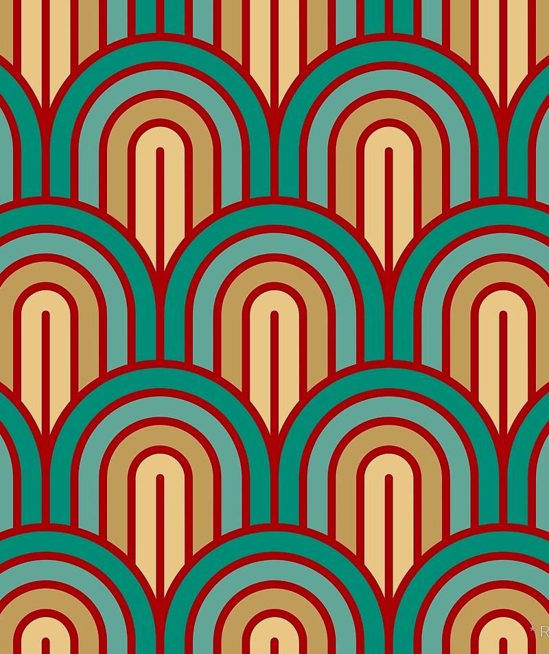 Geometric Pattern: Art Deco Arch / Red Wolf