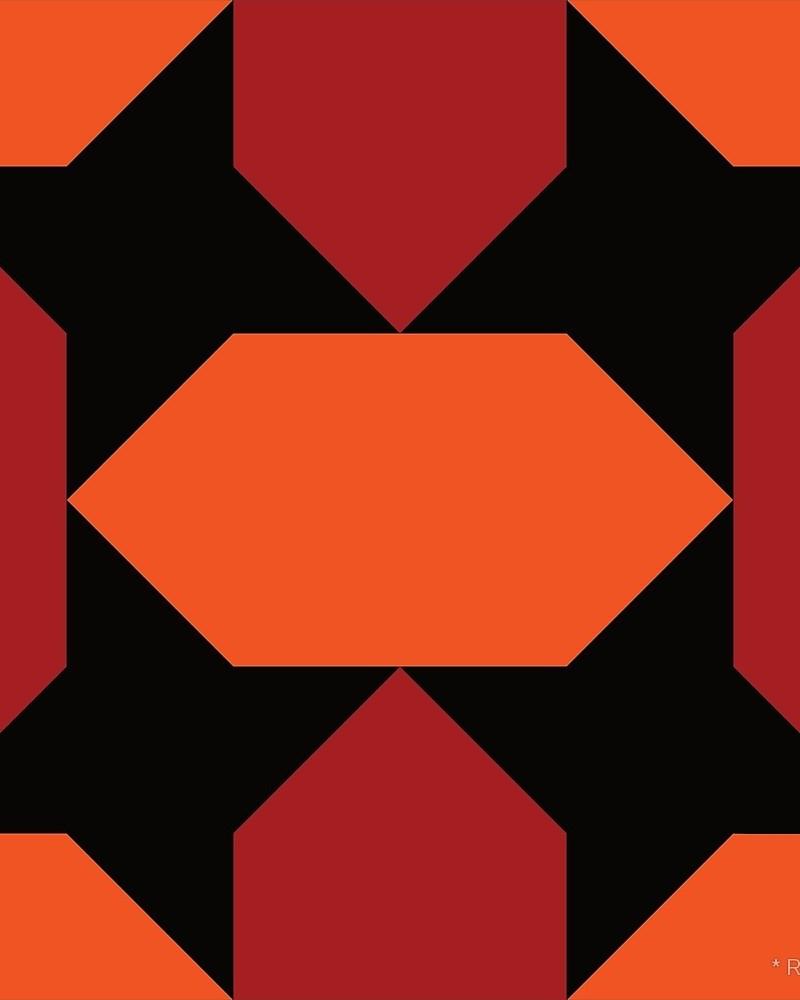 Geometric Pattern: Star Lozenge / Red Wolf