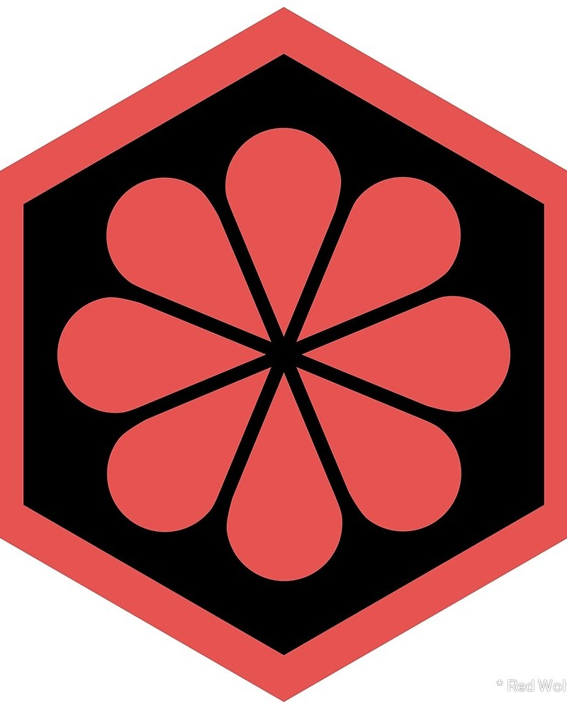 Geometric Pattern: Hexagon Flower: Colour/Black / Red Wolf