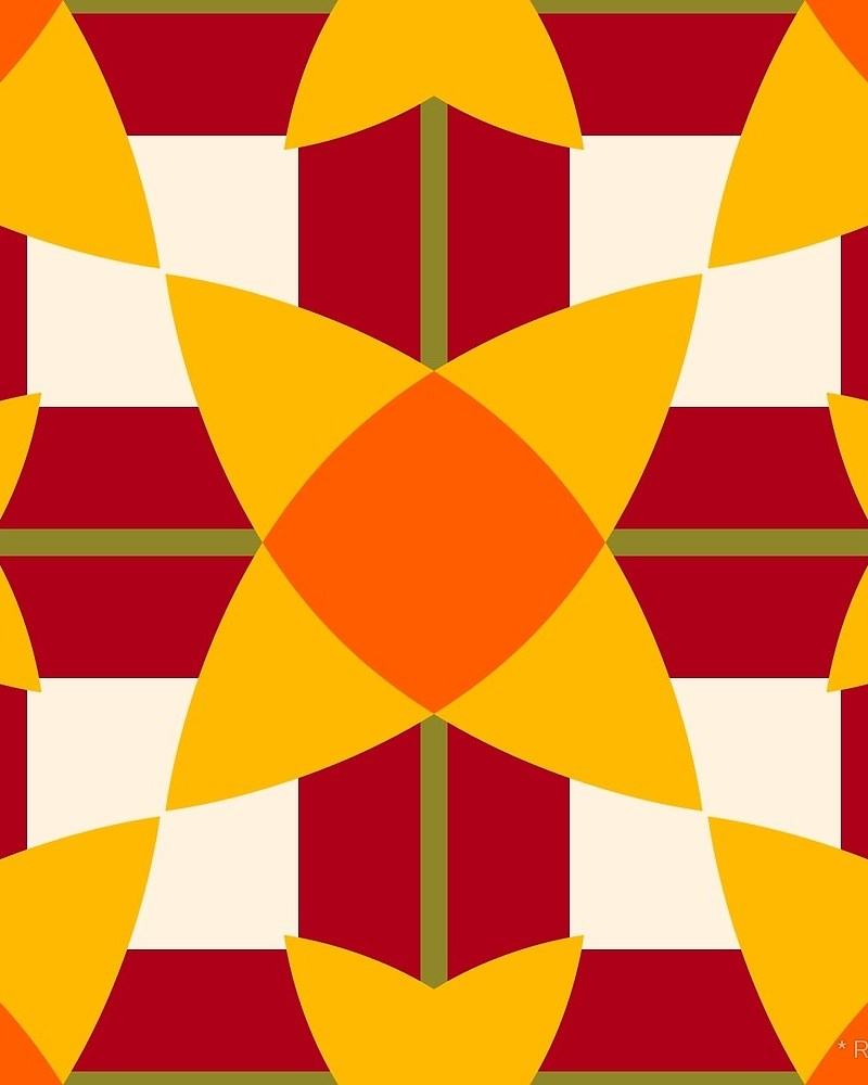 Geometric Pattern: Flower Weave / Red Wolf