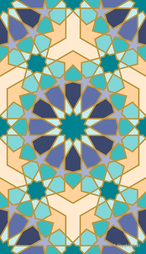 Geometric Pattern: Arabic Tiles: Flowers / Red Wolf