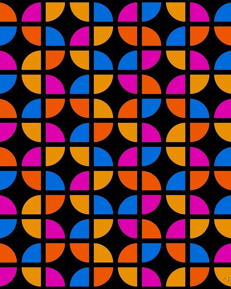 Geometric Pattern: Quarter Circle: Akansha / Red Wolf