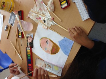 Nick painting by child in Chinese school 2014
