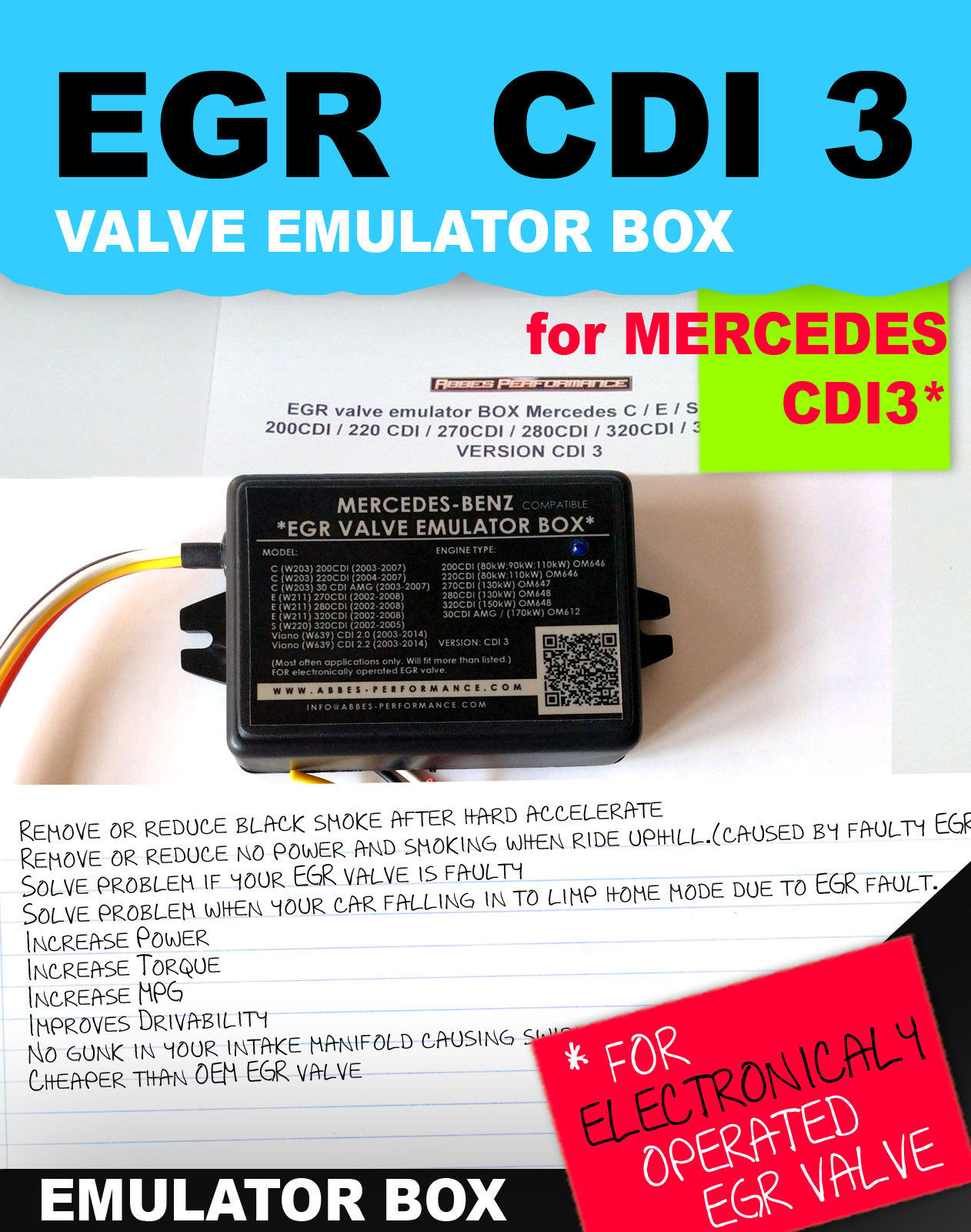 hight resolution of detailed photo of the product egr valve emulator box mercedes c
