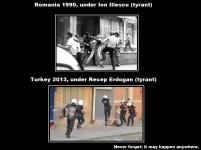Comparație foto între o mineriadă din București în România anilor 1990 și protestul din Istanbul, Turcia, în 2013