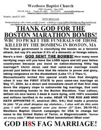 Westboro Baptist Church și atentatul din Boston