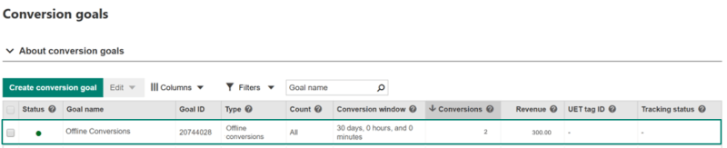 Bing Ads: View conversion data on Conversions goals page