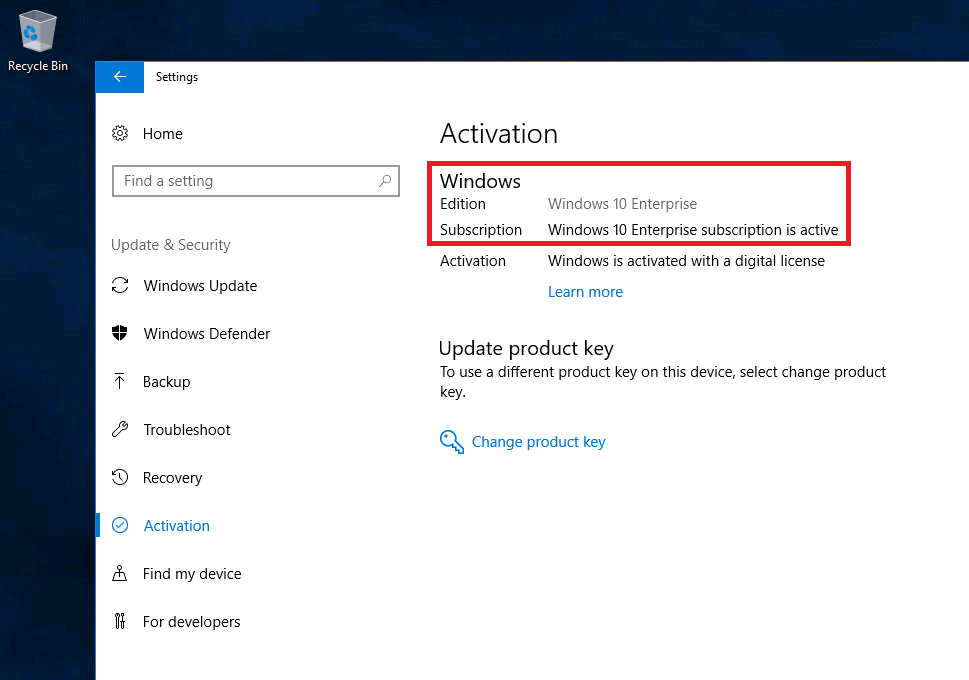 Windows 10 Subscription Activation Status in Settings App