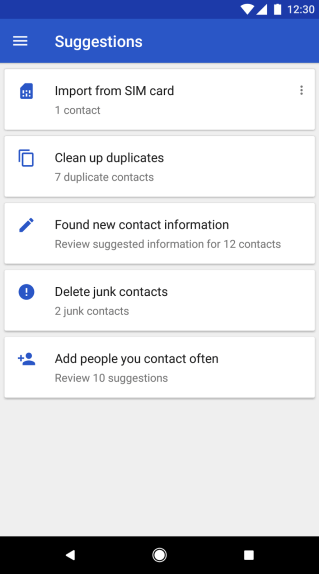 Google Contacts app for Android: Suggested contacts