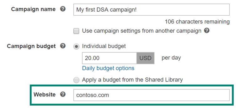 Setup Target bids for Bing Ads DSA campaigns