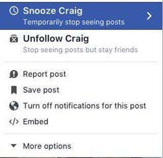 Facebook Snooze Button