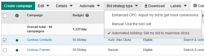 Placement of Bing Ads Automated bidding: Set my bid to maximize clicks