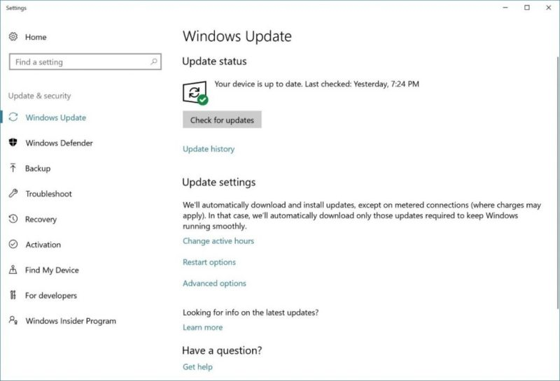 Windows 10 Fall Creators Update Settings Page