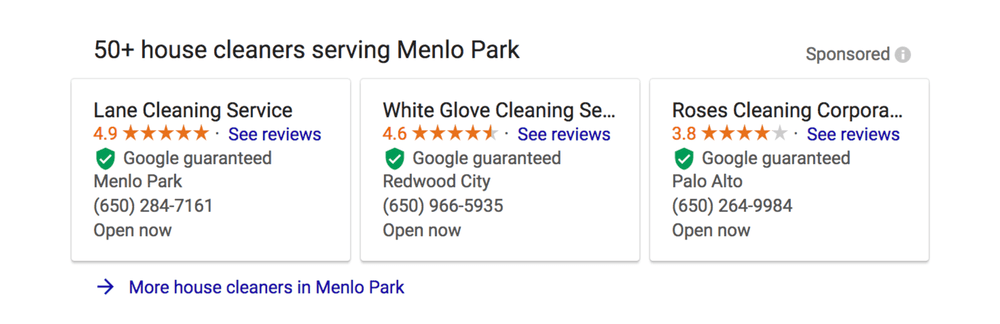 Local Services by Google Search Results