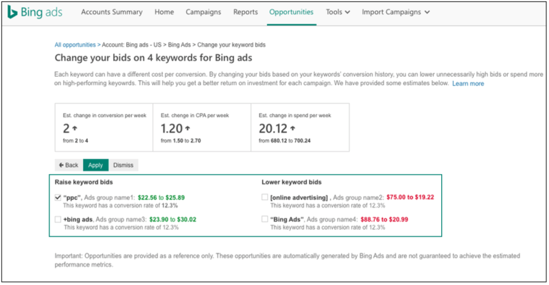 Keyword bid adjustments in bing ads