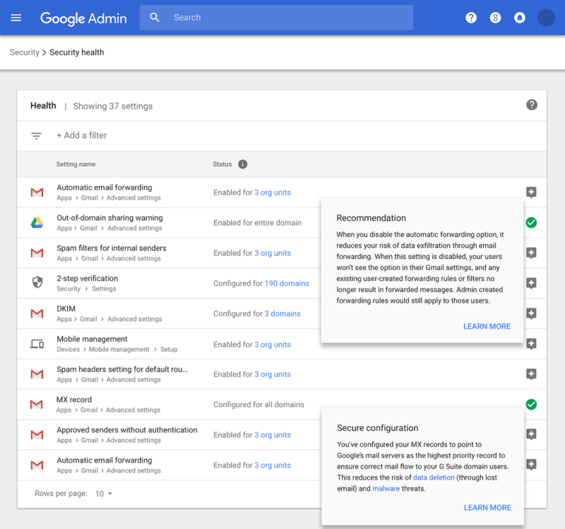 G Suite Security Center Health Recommendations