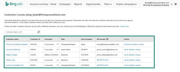 Multi-user access in Bing Ads