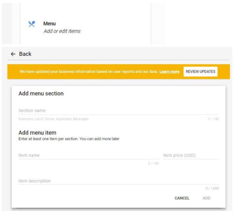 Google My Business Info tab